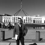 George Newhouse at Parliament House, Canberra