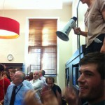 Protestors occupy the office of the Dean of Arts, Professor Duncan Ivison.
