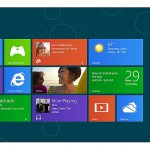 The new Windows 8 start screen featuring the 'tile' design of Windows Mobile. Each tile can also display 'live' information from the application.