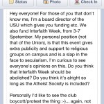 The message Tom Raue posted on the Facebook page of the Usyd Atheist Society.