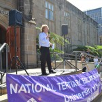Michael Thompson at a 'Stop the Cuts' rally earlier this year. Photo courtesy of Sydney University Greens on Campus