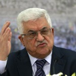 President of the Palestinian Authority Mahmoud Abbass reacts to Patrick Massarani.