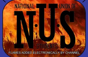 Nation Union of Students logo on fire