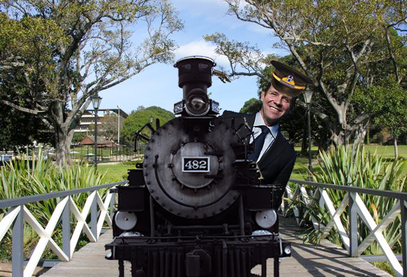 Mike Baird as a conductor on the Vic Park Train