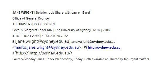 Jane Wright 2014 University of Sydney email signature.