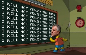 "Joe Hockey's head on Bart Simpson writing ""I will not punish the poor"" on chalkboard as punishment for being a bad boy"