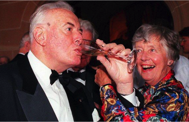 Simpler times, Dame Leonie with Gough Whitlam.