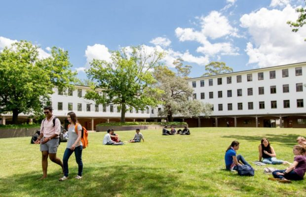 A photograph of the ANU law lawns and building