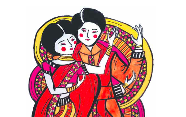 An illustration of two queer bollywood characters