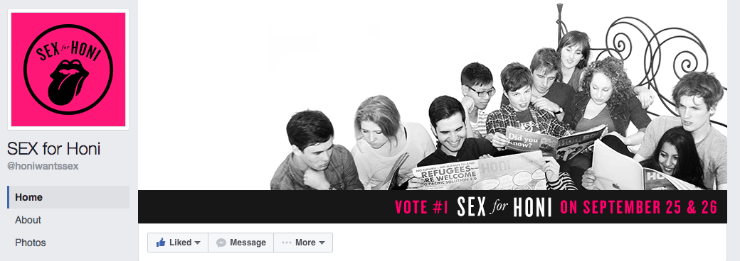 The SEX for Honi Facebook page from 2013.