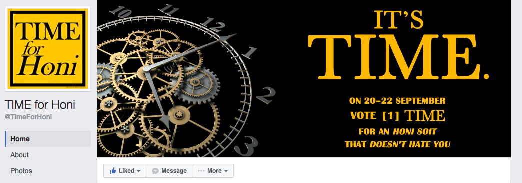 The TIME for Honi Facebook page.