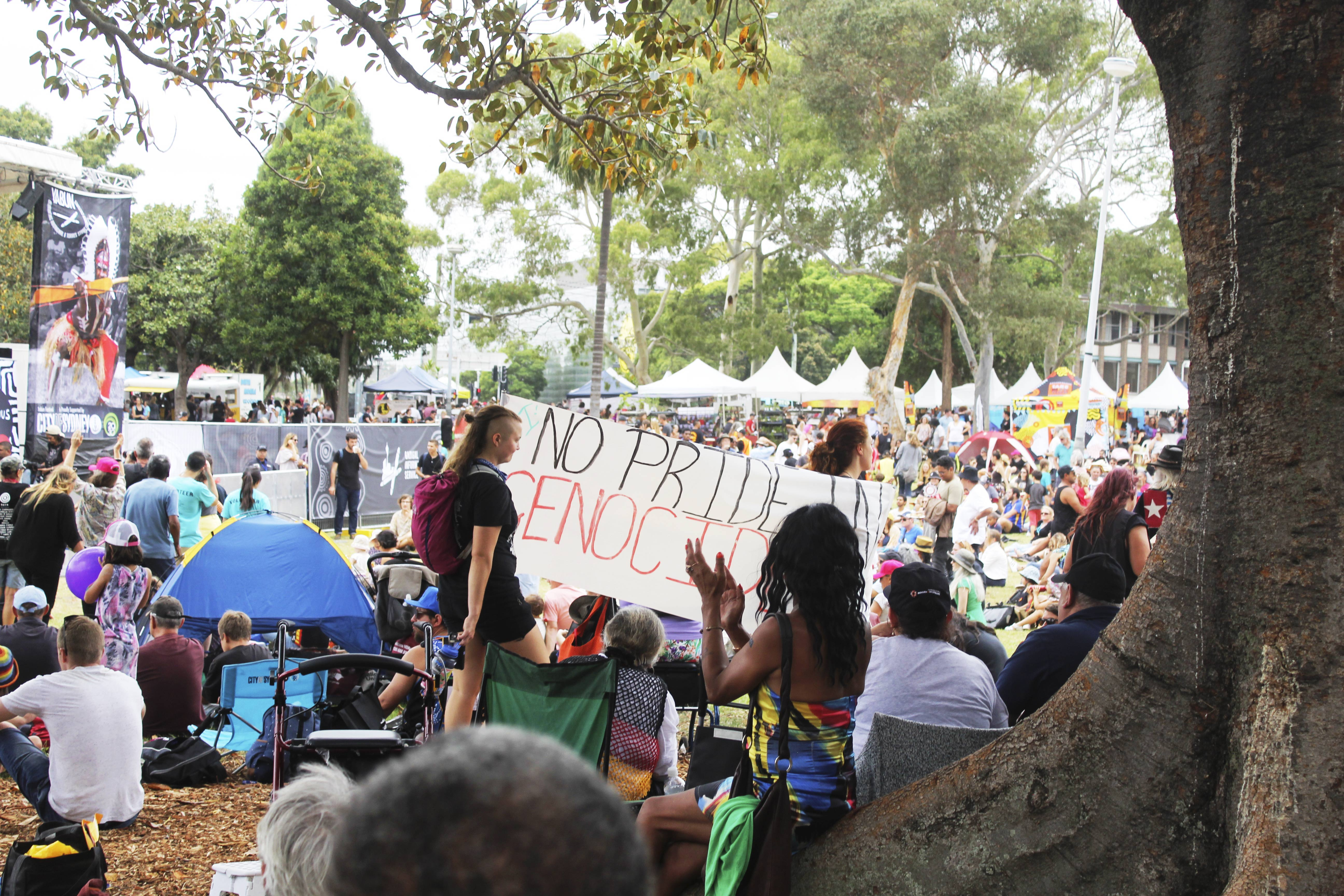 Protest cuts through the Yabun crowd.