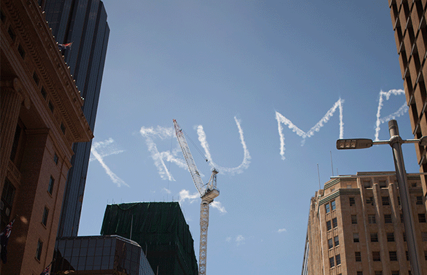 Trump skywriting. Photography: Patrick Morrow.