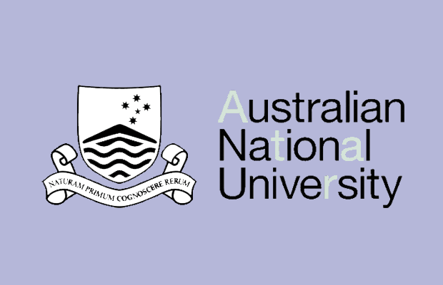 The ANU logo and name on a lilac background. The letter A, T, A, and R within the ANU name are paler in colour.