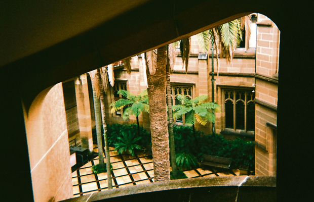 A photo of the Anderson Stuart Courtyard, viewed through an upper window.