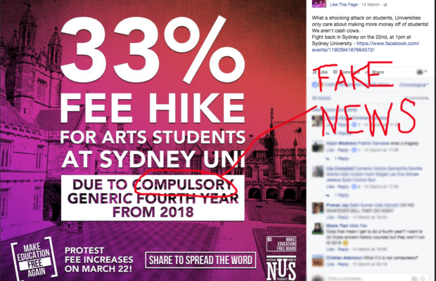 NUS Education campaign image claiming that University of Sydney Arts students will incur a 33% fee hike under its new compulsory four-year arts degree. The word 'compulsory' is circled and labelled 'FAKE NEWS'.