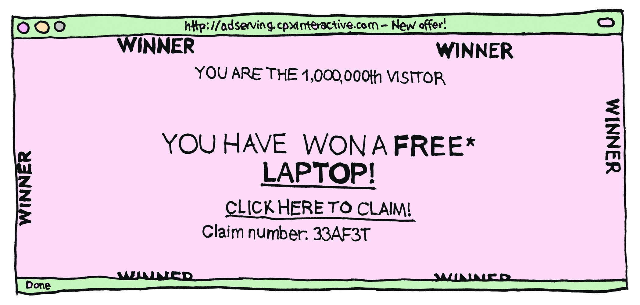 """you have won a free laptop!"" ad"