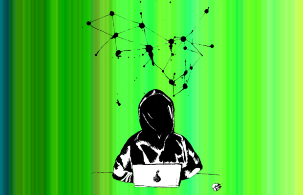 Dark hooded figure sits at a computer, with a web of black-ink hanging above them. The background features lines of varying thickness in different shades of green.