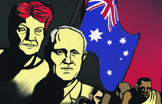 Drawn picture of Pauline Hansen and Malcolm Turnbull standing in front on an industrial skyline and the Australian flag. A blimp with 'Fake News' written on the side flies above in the sky. A row of refugees marches out of the frame. The image is reminiscent of 20th century propaganda posters, featuring block colouring.