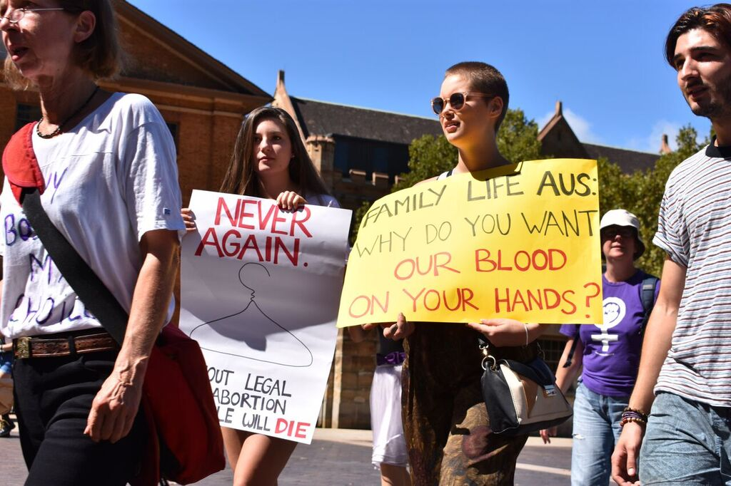 "Two protestors walk to parliament house holding hand-painted signs. The protestor on the left is holding a sign saying ""Never Again"" with a drawing of a coat hanger. The protestor on the right is holding a yellow sign which reads ""Family Life Aus: Why do you want our blood on your hands?"""