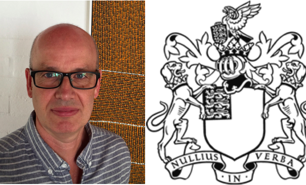 Professor Edward Holmes and the Royal Society's crest.