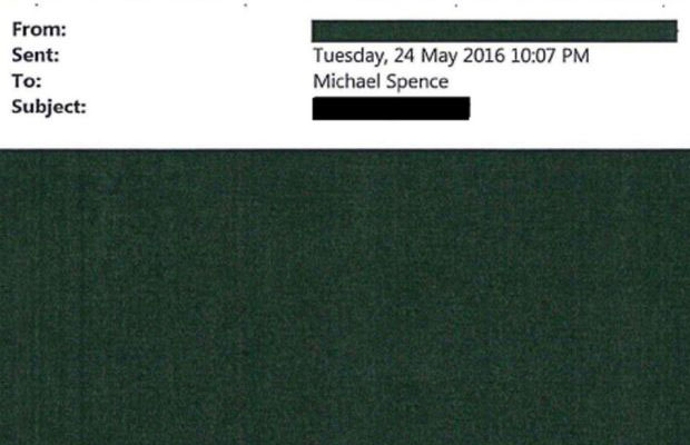 A redacted email sent to vice-chancellor Michael Spence. Photo: Sydney Morning Herald