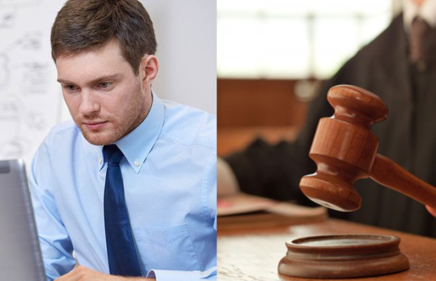 a picture of a man at a computer and a judge banging a gavel