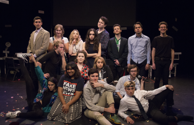 The cast and directors of Jew Revue posing on stage together
