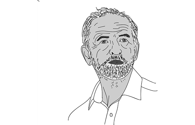 black and white sketch of UK Labour leader Jeremy Corbyn