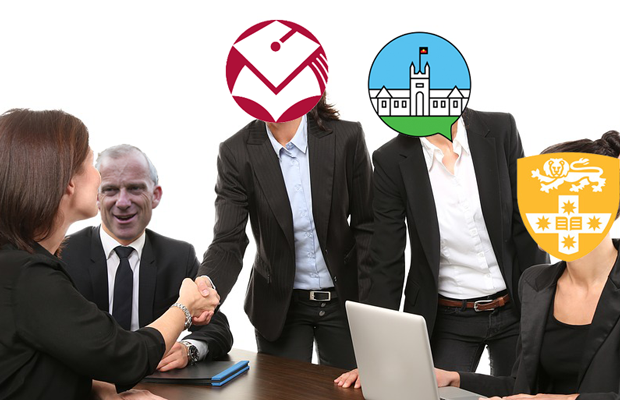Stock image of meeting with Spence's face and the SRC, USU and SUPRA logos photoshopped onto the faces of participants.