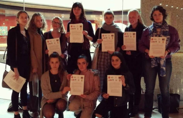 The group of student representatives delivering the letter. Image: University of Sydney Women's Collective.