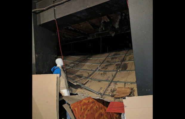 When the ceiling collapsed earlier this year, the damage was extensive. Photo: Margot Lousia