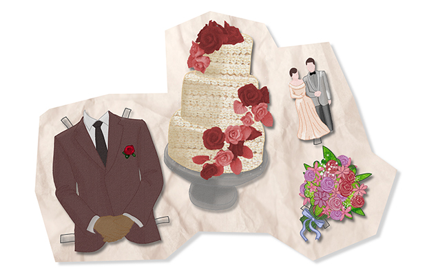 Cut out drawings of a male suit, a wedding cake, and a cake-topper with a couple.