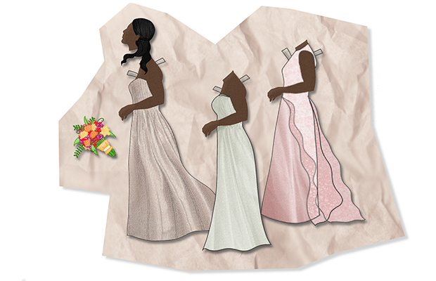 Cut out drawings of women of colour wearing wedding and bridesmaids dresses. There is also a cut out image of a flower bouquet.