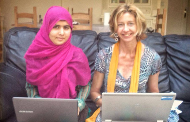Christina Lamb with Malala Yousafzai while working on I Am Malala.