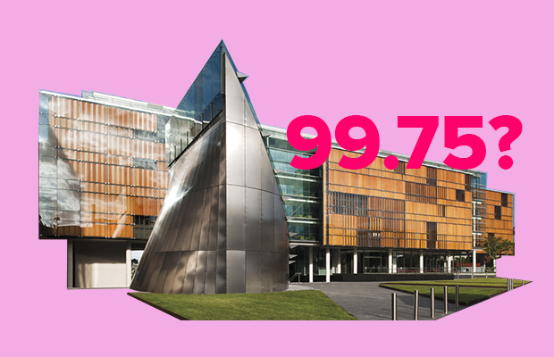 "Cut out photograph of the University of Sydney Law School on a pink background, with ""99.75?"" written in hot pink over the top."