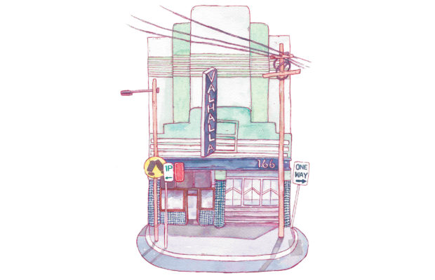 The Valhalla Cinema facade in Glebe still stands even though the theatre does not. Art: Eloise Myatt.