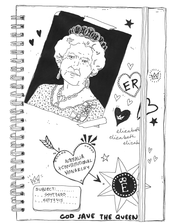 A student monarchist's notebook. Art: Eloise Myatt