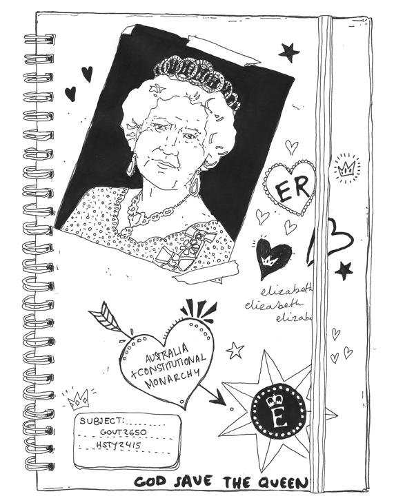 A student monarchist's notebook. Art: Eloise Myatt