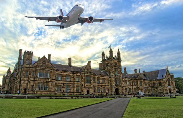 Photoshopped image of aeroplane flying over USyd Quadrangle