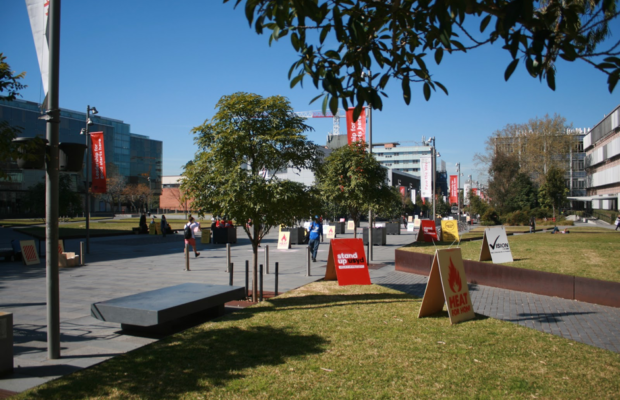 A photograph of Eastern Avenue at university, with a number of coloured campaign A-frams scattered here and there along the footpath