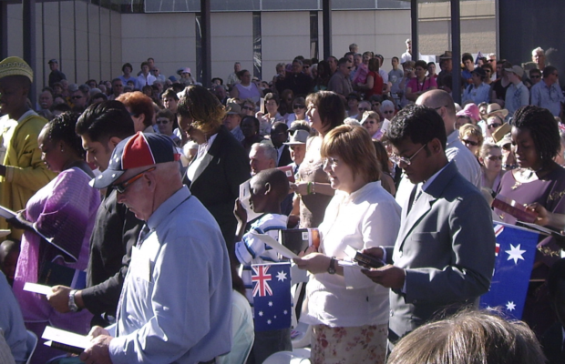 picture of people receiving their Australian citizenship