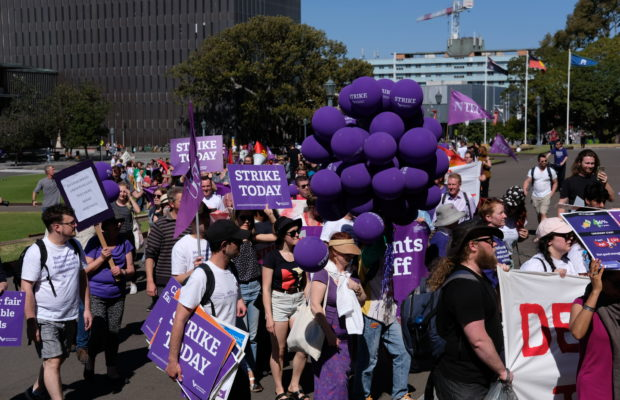 Protesters at the NTEU's strikes earlier this month. Photograph: Nick Bonyhady