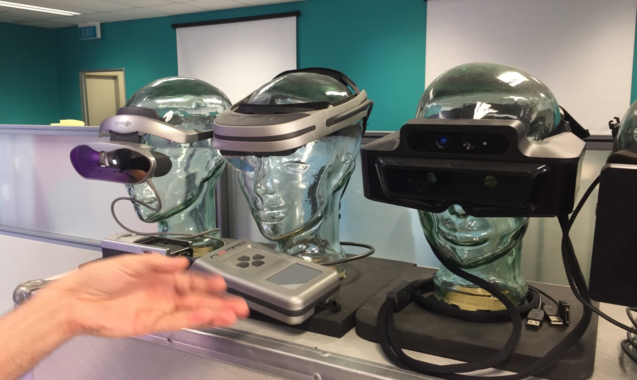 Several virtual reality headsets from the 1990s