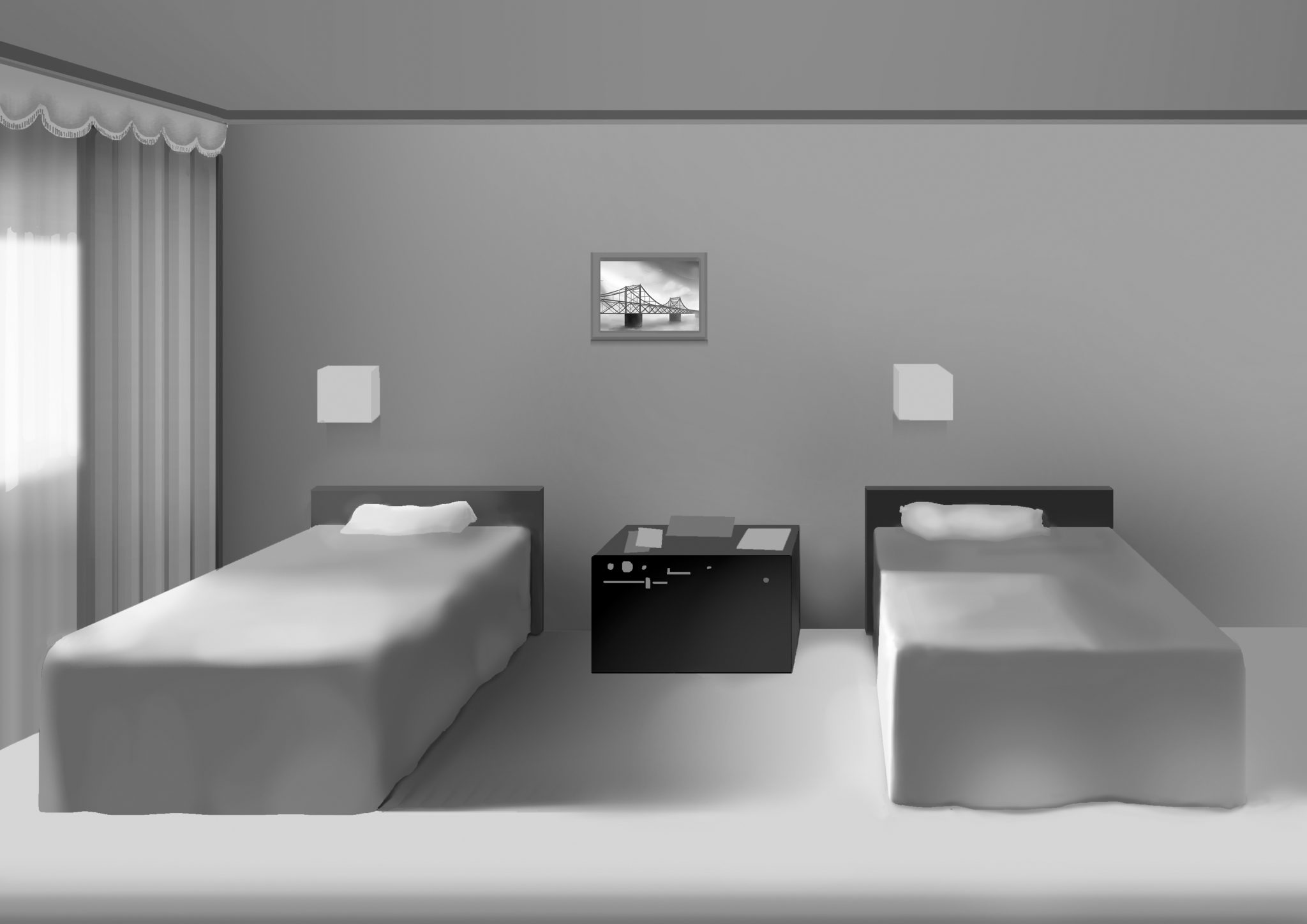 Graphically drawn image of a hotel bedroom with two beds and a bedside table between. The image has a film-noir-esque aesthetic.