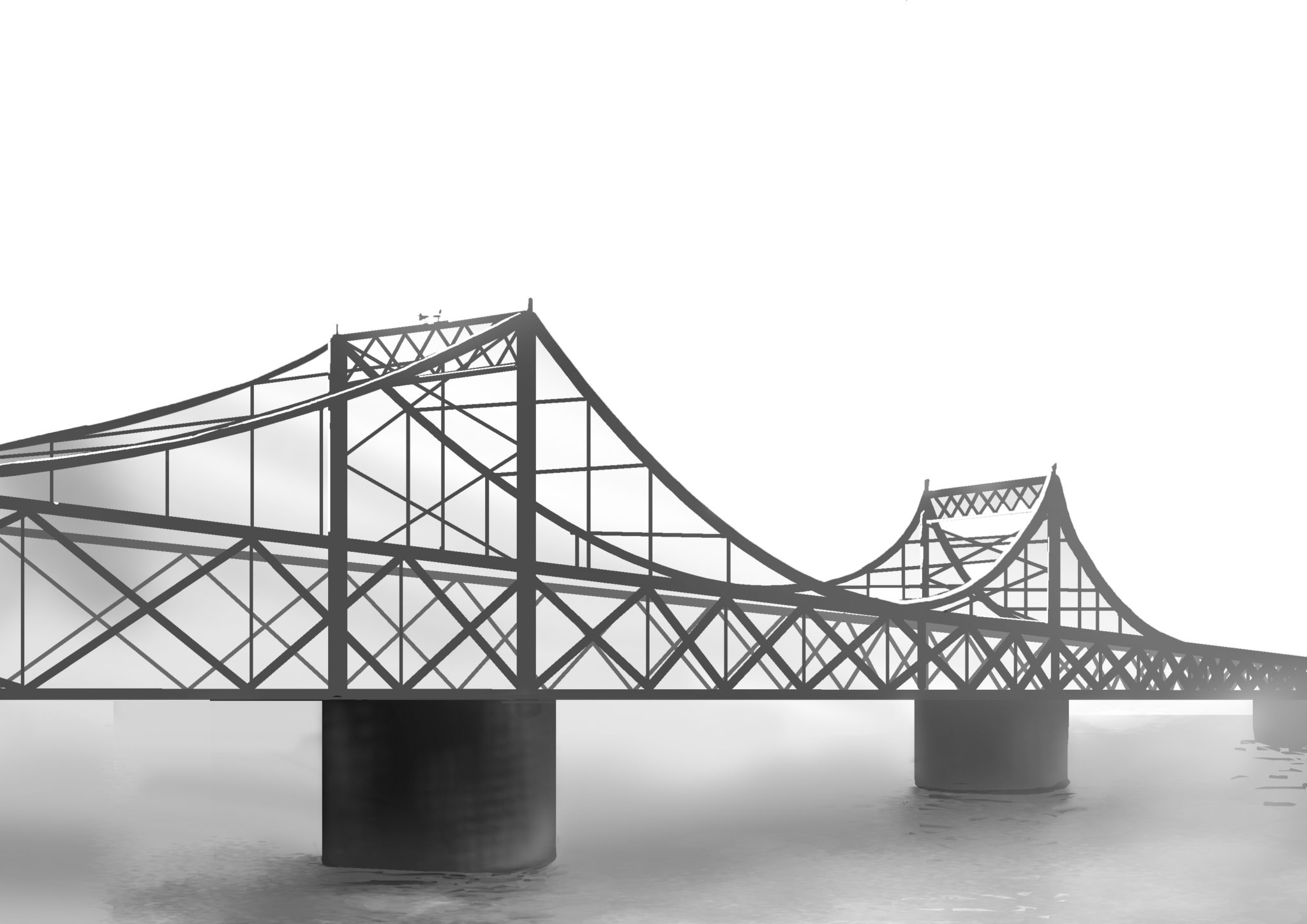 Graphically designed black and white image of the bridge, with mist around the base.