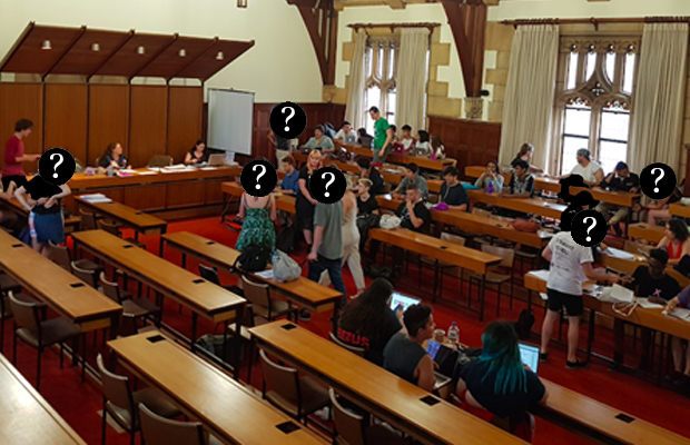 Photograph of the University's Professorial Board Room filled with councillors walking around and perceivably arguing. Black circles with question marks appear over some of their faces.