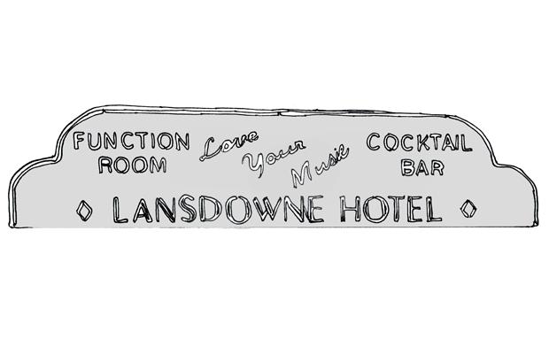 sketch of Lansdowne Hotel facade