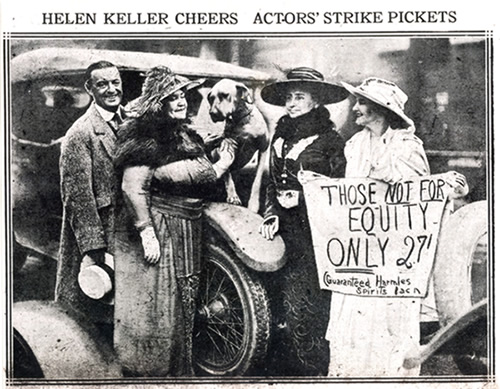 HELEN KELLER CHEERS ACTORS' STRIKE PICKETS. A newspaper clipping of Helen Keller joining the picket line at a protest of her own biopic.