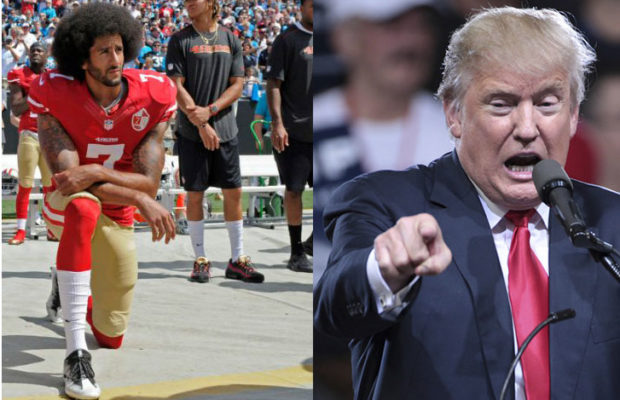 picture of NFL player Colin Kaepernick kneeling next to picture of Donald Trump